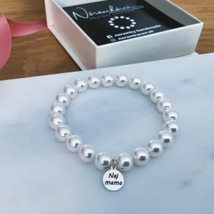 Perlový náramok Naj mama so striebornou platničkou