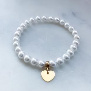 Perlový náramok so srdcom