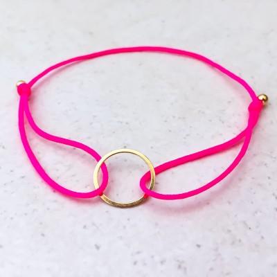 Náramok s kruhom pozlátený pink