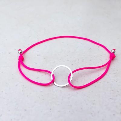 Náramok s kruhom strieborný pink