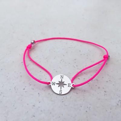 Náramok s kompasom strieborný pink