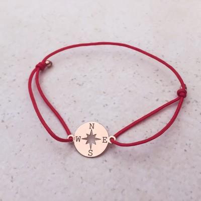 Náramok s kompasom ružový red