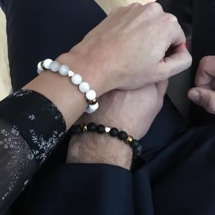 Partnerské náramky s achátom, onyxom a lávou